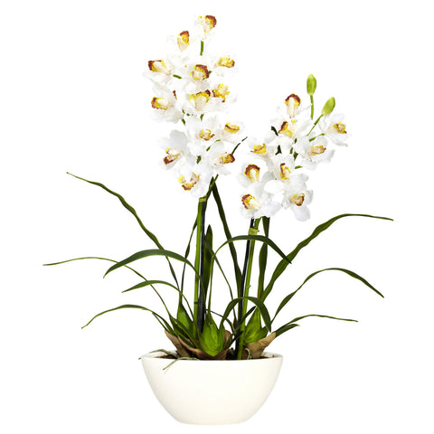 White Cymbidium w/White Vase Silk Flower Arrangement