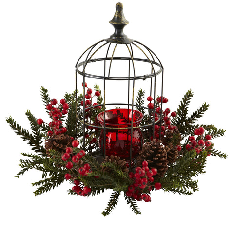 Red/Green Pine Berry Birdhouse Candelabrum