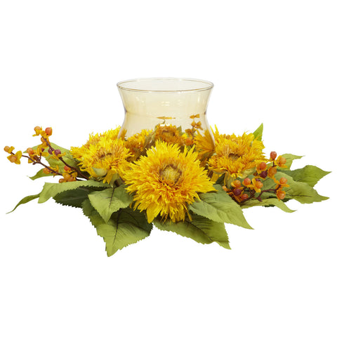 Golden Sunflower Candelabrum Silk Flower Arrangement