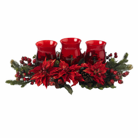 Red Poinsettia & Berry Triple Candelabrum