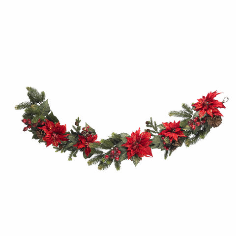 "60"" Poinsettia & Berry Garland"