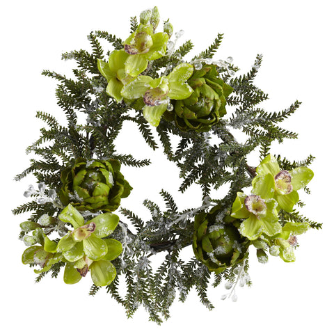 "22"" Iced Cymbidium Orchid & Artichoke Wreath"