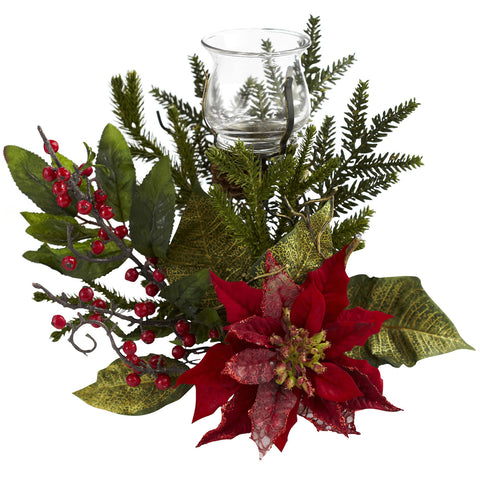 Red Poinsettia Candleabrum