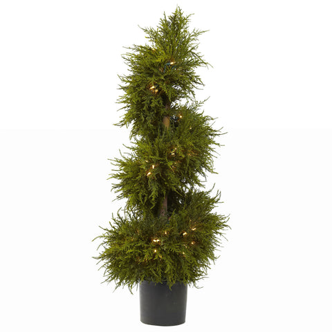 3.5 ft Cedar Spiral Topiary w/Lights