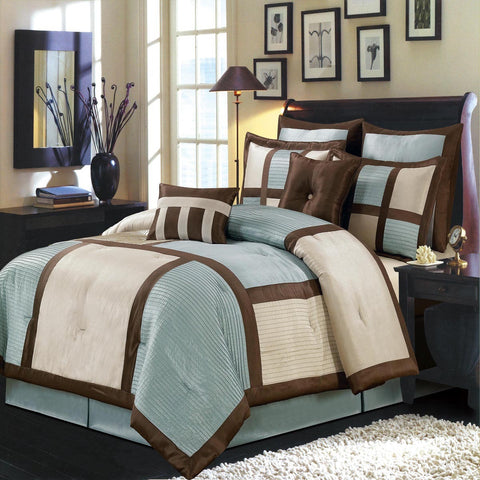 California king BLUE Morgan 8PC Luxury Comforter Set