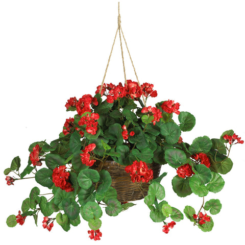 Red Geranium Silk Hanging Basket