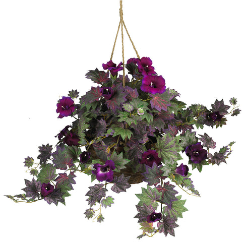 Purple Morning Glory Silk Hanging Basket