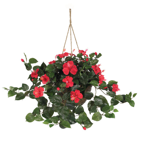 Red Hibiscus Silk Hanging Basket