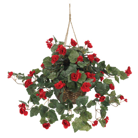 Red Begonia Hanging Basket Silk Plant