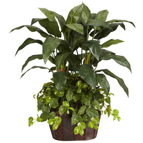 4' Double Bird of Paradise w/Vase & Pothos Silk Plant