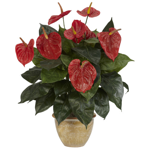 Red Anthurium w/Ceramic Vase Silk Plant