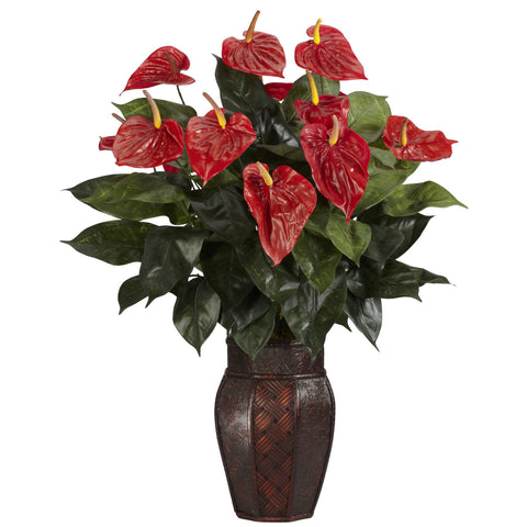 Red Anthurium w/Vase Silk Plant