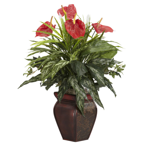 Red Mixed Greens & Anthurium w/Decorative Vase Silk Plant