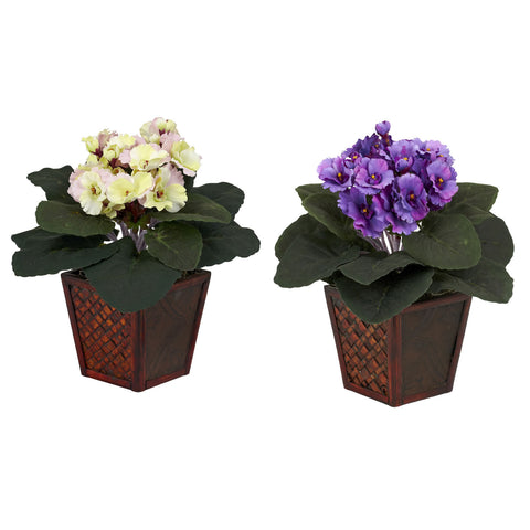 Purple & Cream/Pink African Violet w/Vase Silk Plant (Set of 2)