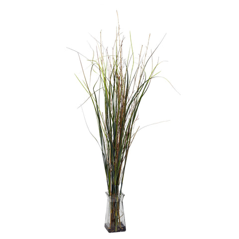 Grass & Bamboo w/Glass Vase Silk Plant
