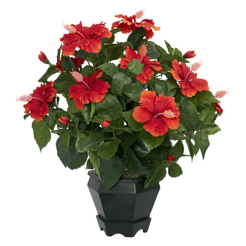 Red Hibiscus w/Black Hexagon Vase Silk Plant