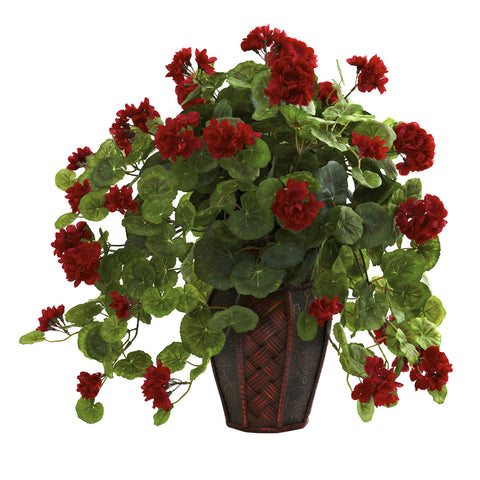 Red Geranium w/Decorative Planter