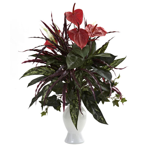 Red Anthurium w/Mixed Greens & White Vase