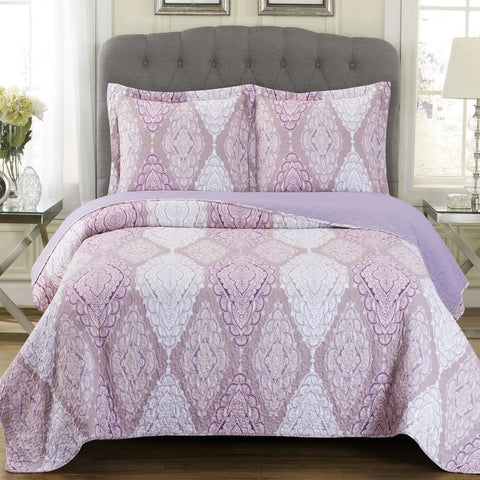 Jewel Oversized Patchwork Printed Quilted Coverlet Set