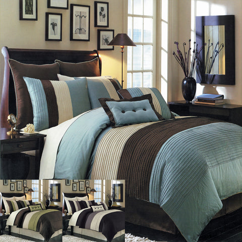 California king BLUE Hudson 8 PC Luxury Comforter Set