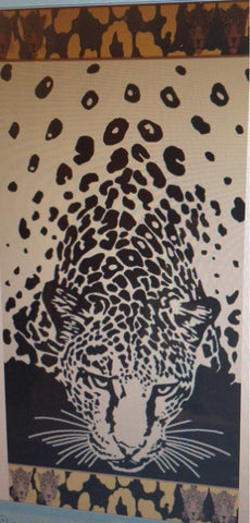 """Tiger in the Beach"" 40x70 Egyptian cotton Beach Towel Scotts-saels.com"