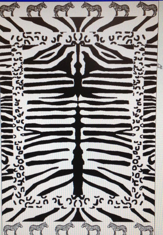 """Zebra Print"" 40x70 Egyptian Cotton Beach Towel Scotts-sales.com"