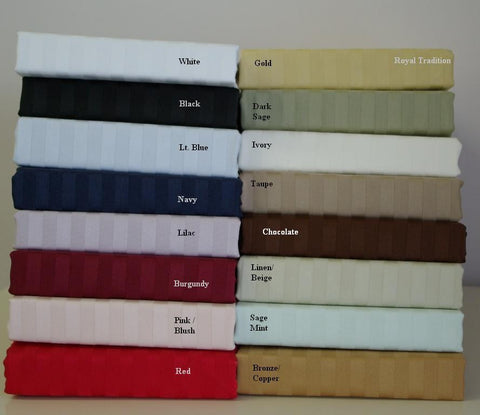 Cal-King Sateen Stripe Bed Skirt 300 Thread Count Egyptian Cotton