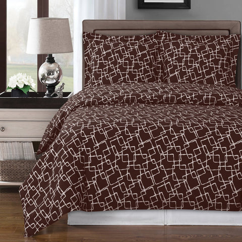 King/Calking Chocholate/White Eva Duvet Cover 100% Combed Cotton