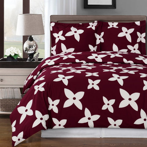 King/Calking Burgundy/White Desiree Duvet Cover 100% Combed Cotton