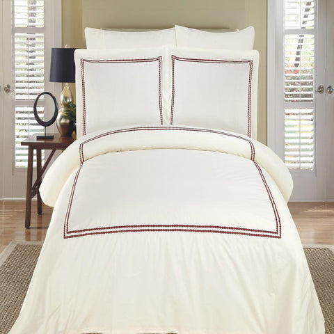 King/Calking Ivory/Burgundy Embroidered Duvet cover set