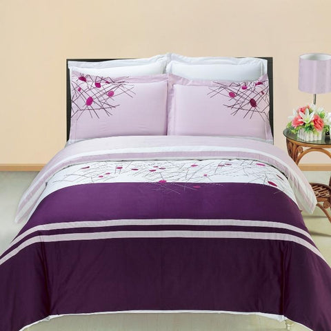 King/Calking Cherry Multi-Piece Embroidered Duvet Set