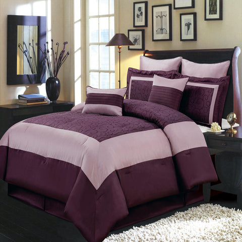 California king 12PC Wendy Purple bedding Set