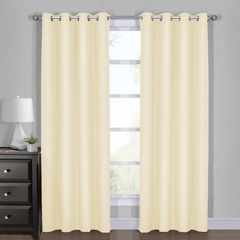 IVORY 108x120 100% Blackout Curtain - Diamond Jacquard Woven Drape Theme (Set of 2)