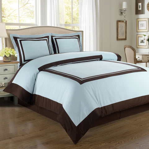 King/Calking Blue/Chocolate 100% Combed cotton Hotel Duvet cover set