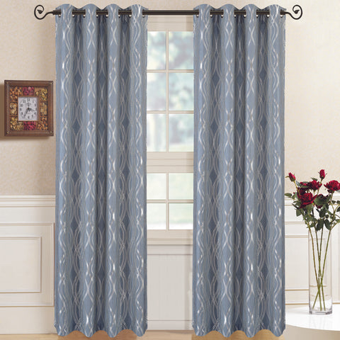 Blue 104x108 Regalia Abstract Jacquard Textured Grommet Top Curtain Panels (Set of 2)