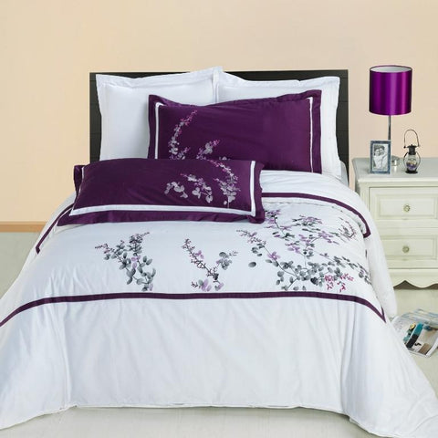 King/Calking Spring Valley Combed cotton Embroidered Duvet Cover Set