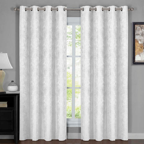 WHITE 54x108 100% Blackout Curtain Bali - Wallpaper Abstrak Theme (Set of 2)