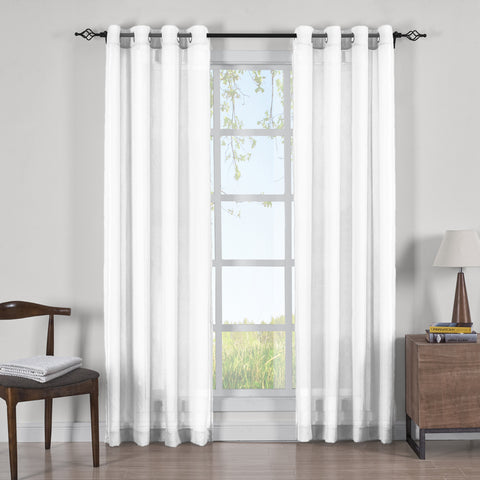 WHITE 50x108 Abri Grommet Crushed Sheer Curtain Panels (Set of 2)