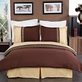 King/Calking Gold/Chocolate Embroidered 3-Piece Duvet cover Set