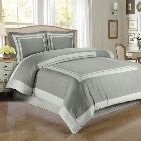 King/Calking Gray/Light Gray 100% Combed cotton Hotel Duvet cover set