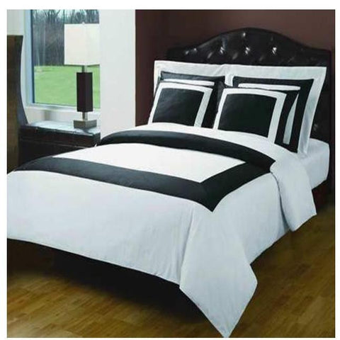 Cal-King Black/White 10PC Hotel Down Alt. Combed Bed in A Bag