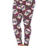 PINK PETAL SUGAR SKULL LEGGINGS - ShesGotLeggings