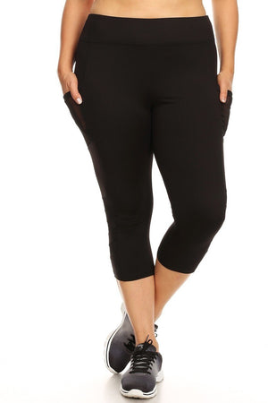 SIDE MESH~PLUS SIZE CAPRIS