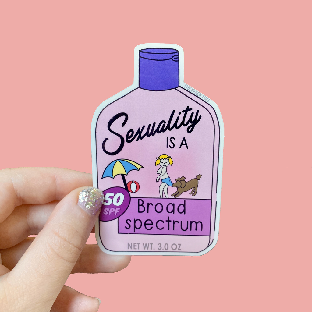 Sexuality is a Broad Spectrum Sticker from Diament Jewelry, a gift shop in Washington, DC.