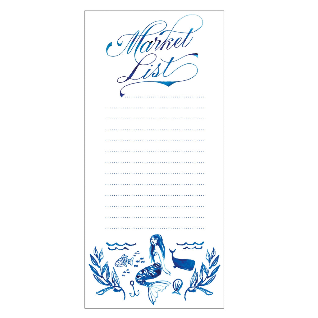 Mermaid weekly market list notepad from Diament Jewelry, a gift shop in Washington, DC.