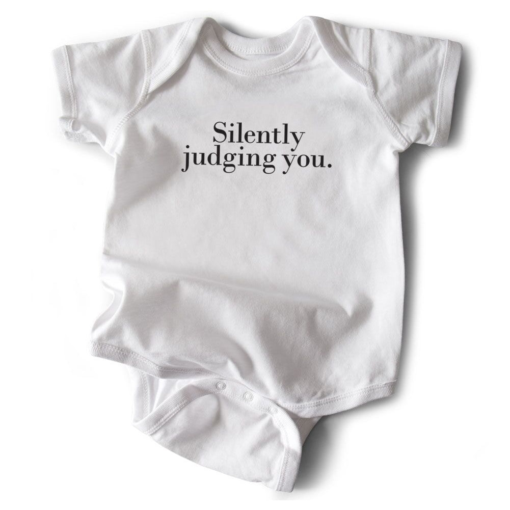 Silently Judging You Baby Onesie from Diament Jewelry, a gift shop in Washington, DC.