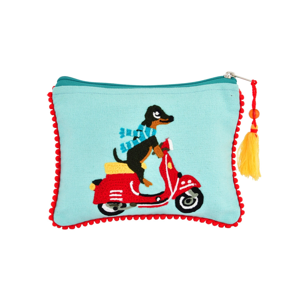 Dog Moped Zip Pouch from Diament Jewelry, a gift shop in Washington, DC.