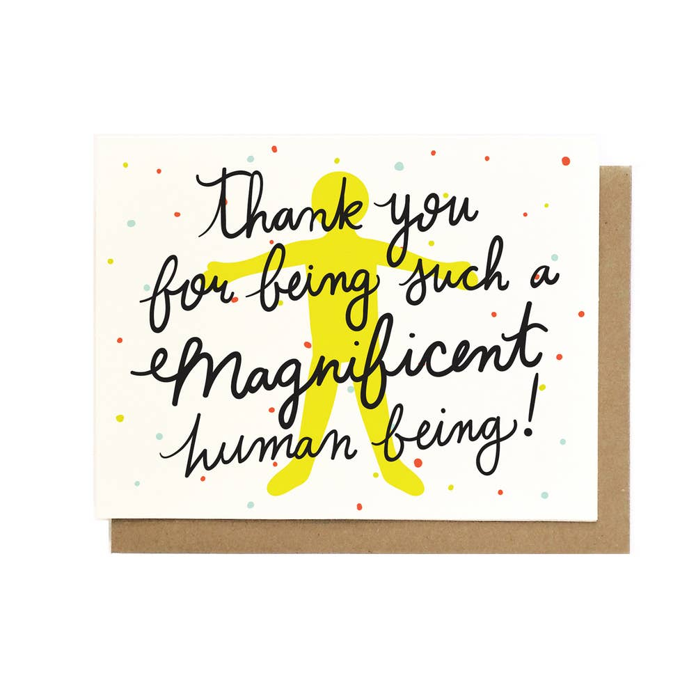 Thank You for Being Such a Magnificent Human Being Card from Diament Jewelry, a gift shop in Washington, DC.