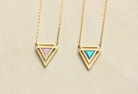 Gemstone Opal Geometric Triangle Necklace