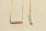 Gemstone Opal Bar Necklace